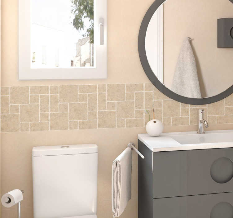 TenStickers. Vinil decorativo azulejos pedra. Autocolante decorativo com o formato de azulejos. Friso decorativo para a decoração da cassa de banho. Sticker decorativo gracioso e harmonioso.