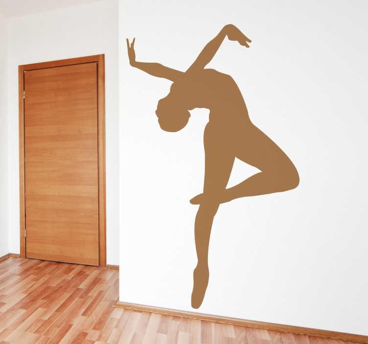 TENSTICKERS. バレリーナフィギュアステッカー. 装飾的なバレリーナのシルエットのステッカーは、舞踊の世界を愛するすべての人、特にバレエの芸術に理想的です。バレリーナの壁のステッカーは簡単に適用できます