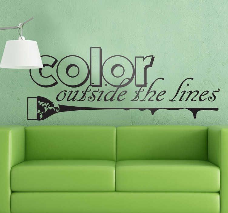 TenStickers. Naklejka wyjątkowy kolor. Naklejka dekoracyjna z napisem 'Colour Outside The Lines' przyciągnie do Twego salonu fryzjerskiego masę klientów.