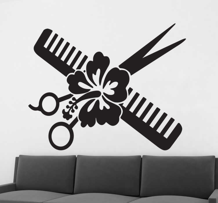 TenStickers. Flower, Scissors and Comb Wall Sticker. Wall sticker to decorate hairdressers and beauty establishments with an original design. A comb, scissors and a pretty Hawaiian flower in the center make this ideal to give a different, modern and special touch to your business.