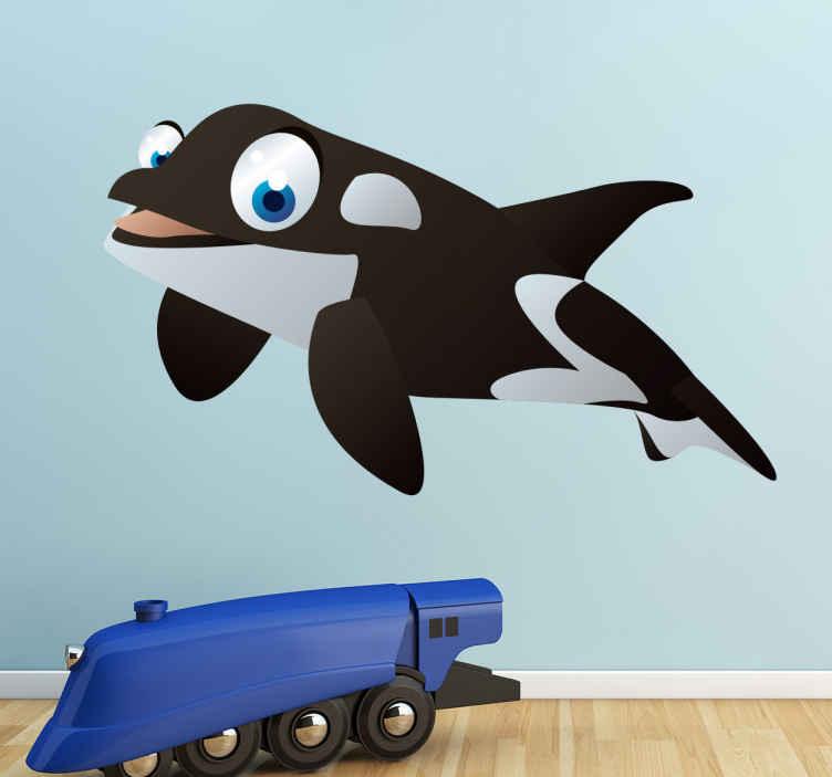 TenStickers. Sticker enfant animal baleine. Stickers pour enfant illustrant une baleine aux grands yeux bleus.Super idée déco pour la chambre d'enfant et tout autre espace de jeux.