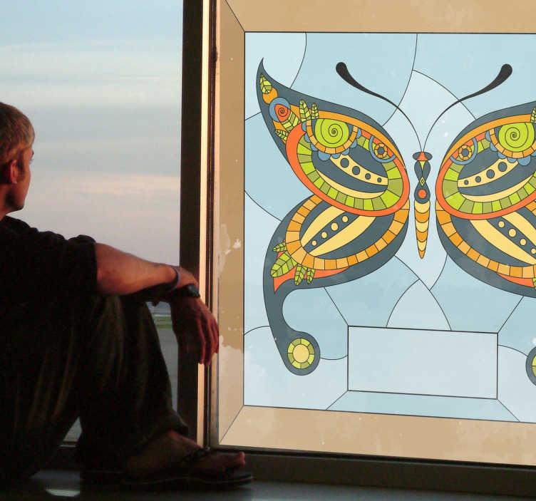 Sticker mosaique vitrail papillon