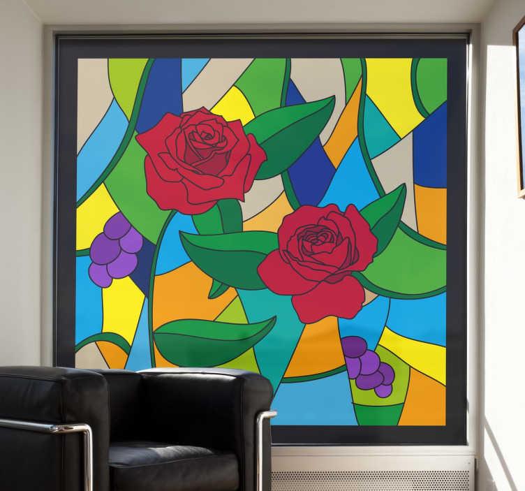 TenStickers. Naklejka witraż z różami. Naklejka dekoracyjna na okno przedstawiająca piękny witraż przedstawiający róże i inne kwiaty na tle kolorowych wzorów. Projekt stworzony przez Freepik.