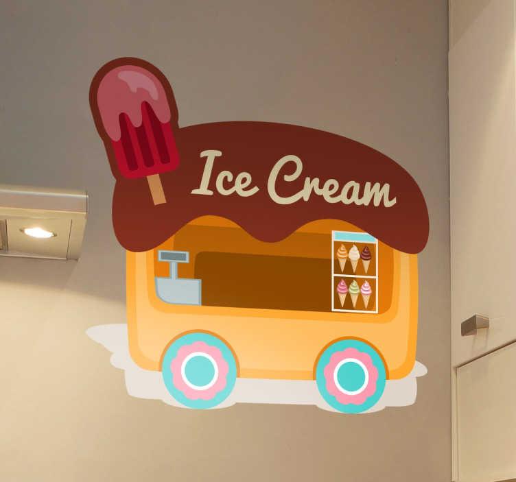 TenStickers. 아이스크림 반 스티커. 많은 다른 맛이 좋은 맛을내는 아이스크림 밴의 데칼. 주방이나 음식 사업에 배치 할 아이스크림 벽 스티커. 10 % 할인을 신청하십시오.