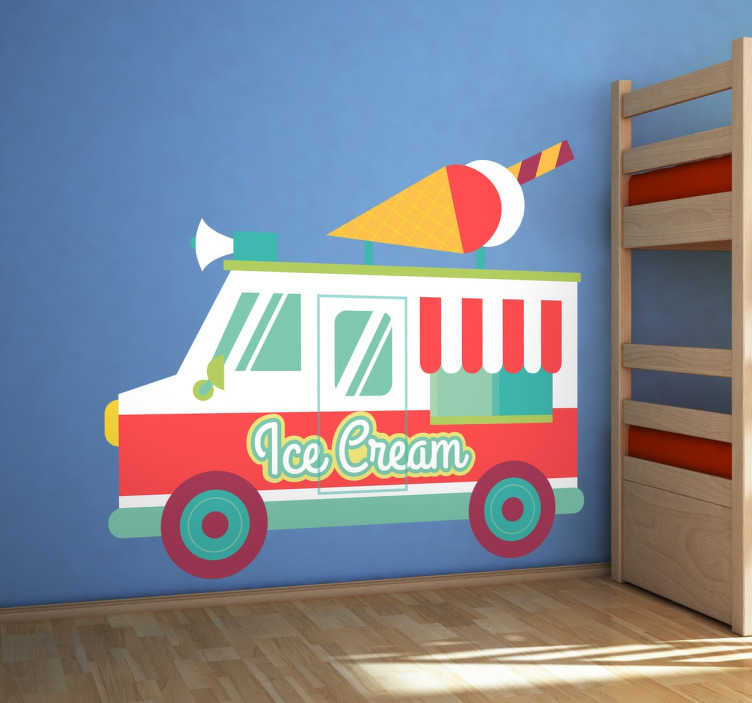 TenStickers. Ijsjes Ijscoman wagen sticker. Kleurrijke muursticker van een ijscoman wagen met allemaal verschillende vrolijke kleuren en vormen! Je ziet een groot ijsje bovenop de wagen!