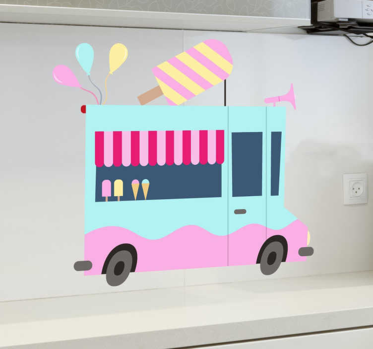 TenStickers. Ice Cream Truck Kids Stickers. Vinyl decal illustrating an ice cream truck in blue and pink colours.