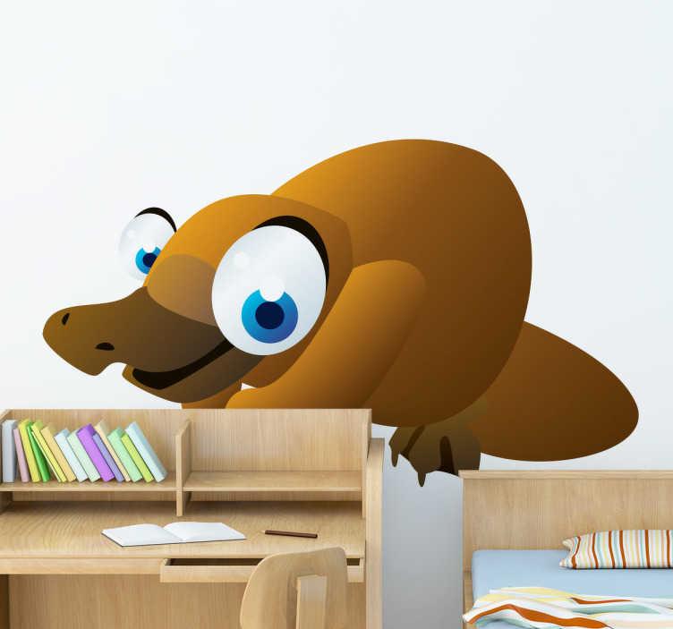 TenStickers. Sticker enfant animal ornithorynque. Stickers pour enfant illustrant un ornithorynque aux grands yeux bleus. Super idée déco pour la chambre d'enfant et tout autre espace de jeux.
