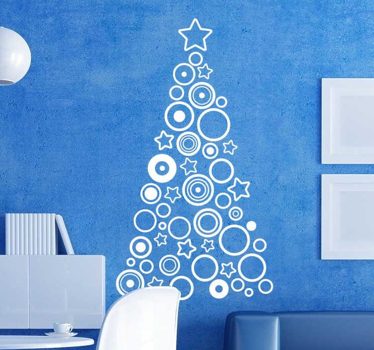 TENSTICKERS. 幾何学的なクリスマスツリーの壁のステッカー. あなたの店のフロントウィンドウのためのクリスマスツリーウォールステッカー、またはこの年の特別な季節にオリジナルのステッカーであなたの家を飾ることができます。星とサークルのような幾何学的形状のシリーズがクリスマスツリーのシルエットを作り上げる現代的なスタイルのクリスマスウォールステッカー。