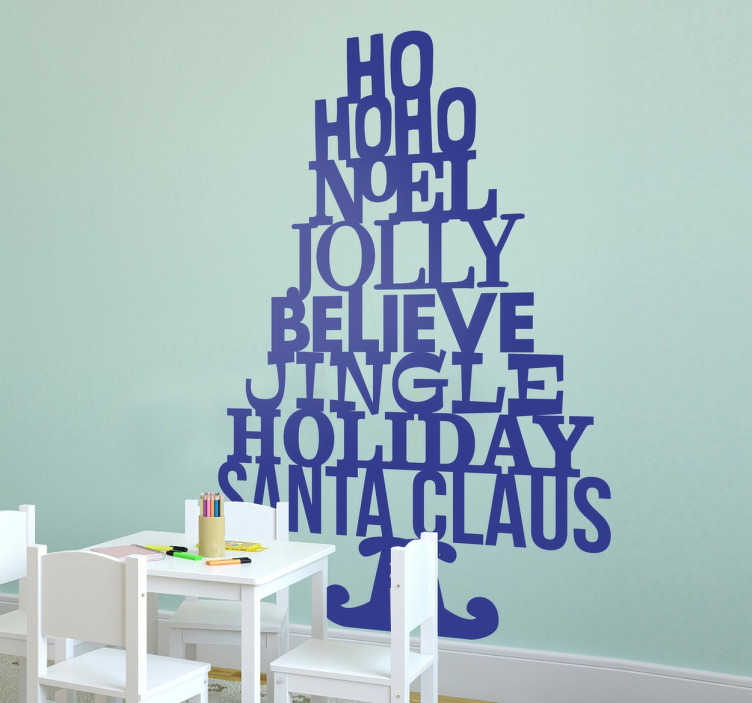 TenStickers. Wordy Christmas Tree Wall Sticker. A Christmas sticker available in a variety of sizes and colours. A fantastic design made of words related to the Christmas season.