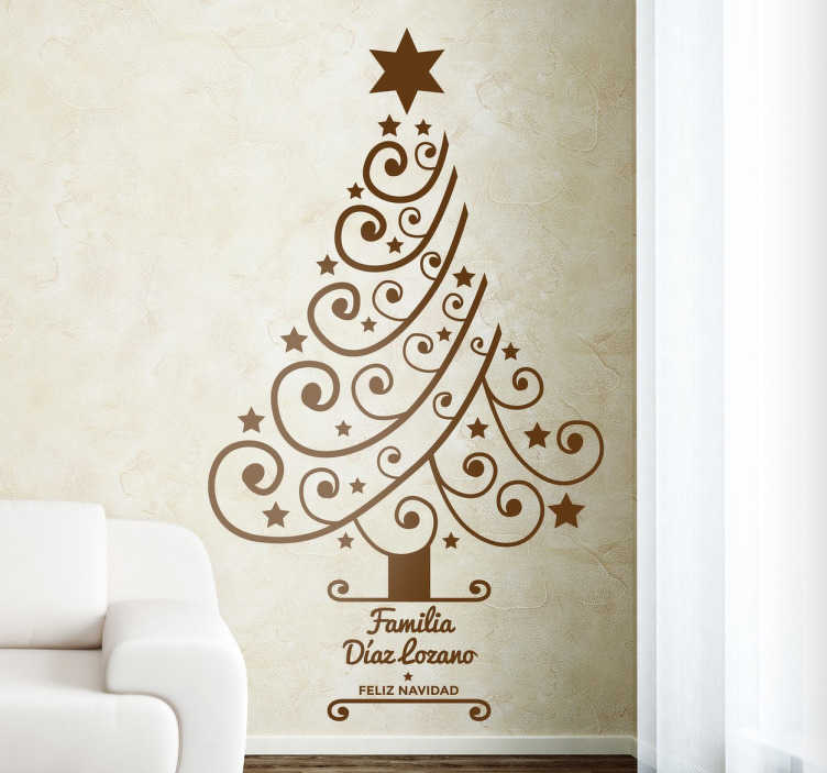 TenVinilo. Vinilo personalizable de navidad árbol. Vinilos Navidad para la decoración de tu salón con un moderno árbol y texto personalizable en la base.