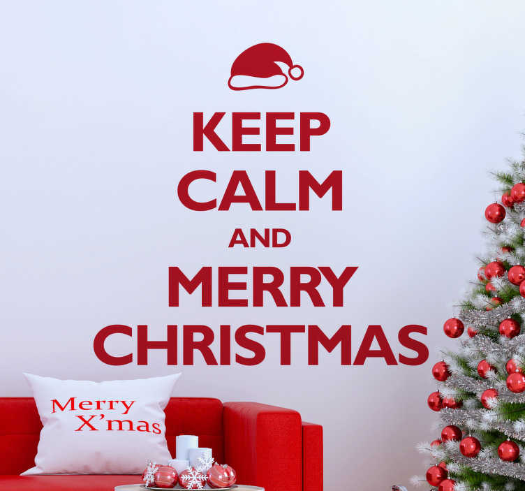 "TenStickers. Autocolante decorativo Keep Calm Happy Christmas. Autocolante decorativo ilustrando o texto ""Keep Calm and Happy Christmas"", juntamente com um caraterístico gorro de Pai Natal!"