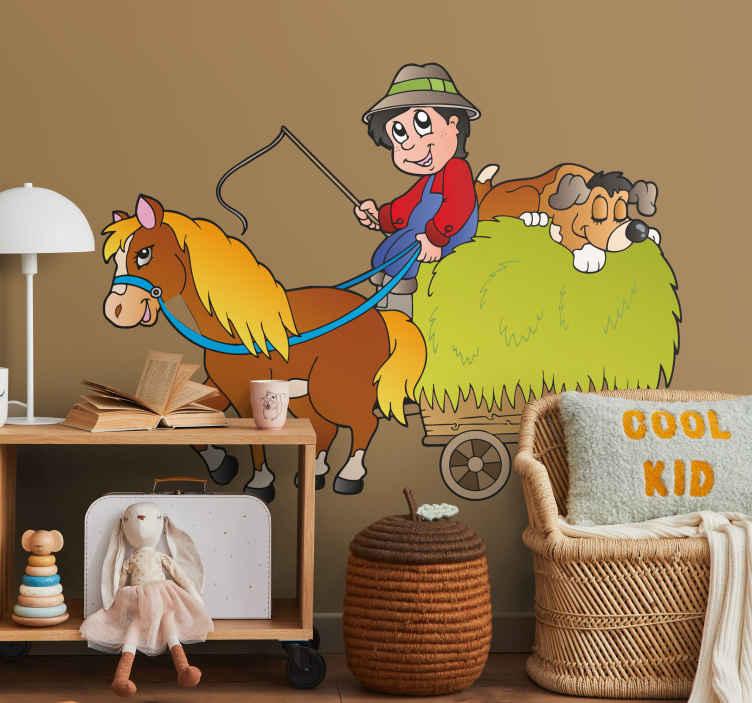 TenStickers. Sticker kinderen paard huifkar. Een leuke muursticker van een boer die samen met zijn hond het hooi vervoert met behulp van een huifkar voortgetrokken door een paard.