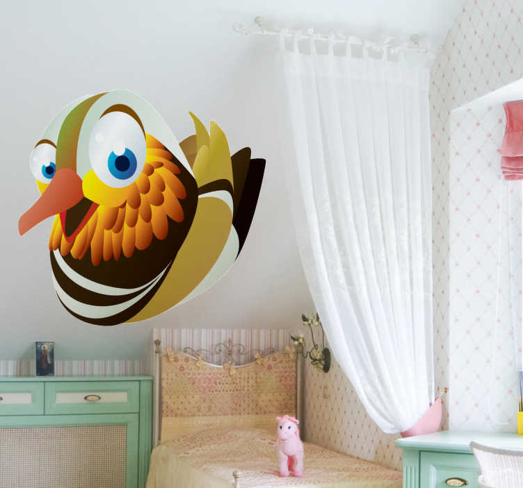 TenStickers. Bird Kids Sticker. Kids Stickers - An illustration of a volatile bird with big blue eyes. Designs ideal for decorating bedrooms and stickers for kids.