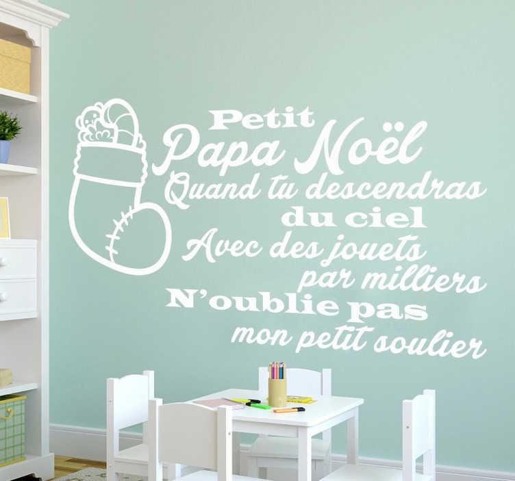 """TenStickers. Sticker comptine petit papa noel. Sticker texte """"Petit Papa Noël"""", pour décorer la chambre des enfants avec cette célèbre chanson de Noël."""