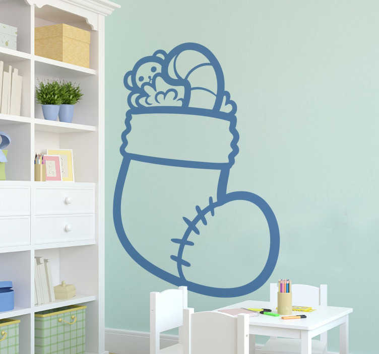 TenStickers. Christmas Stocking Decorative Decal. Christmas vinyl sticker of an illustration of a sock full of sweets and presents for children. Original decal suitable for the little ones at home!