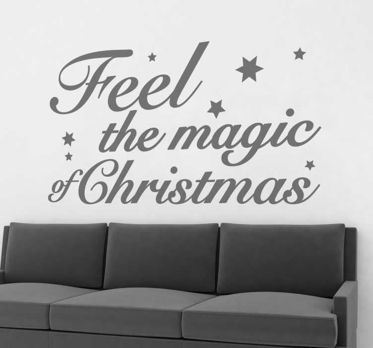 """TenStickers. Adesivo murale Feel the Magic of Christmas. Adesivo decorativo murale che raffigura la scritta """"Feel the Magic of the Christmas"""".  E tu sei pronto per la magia di Natale ?"""