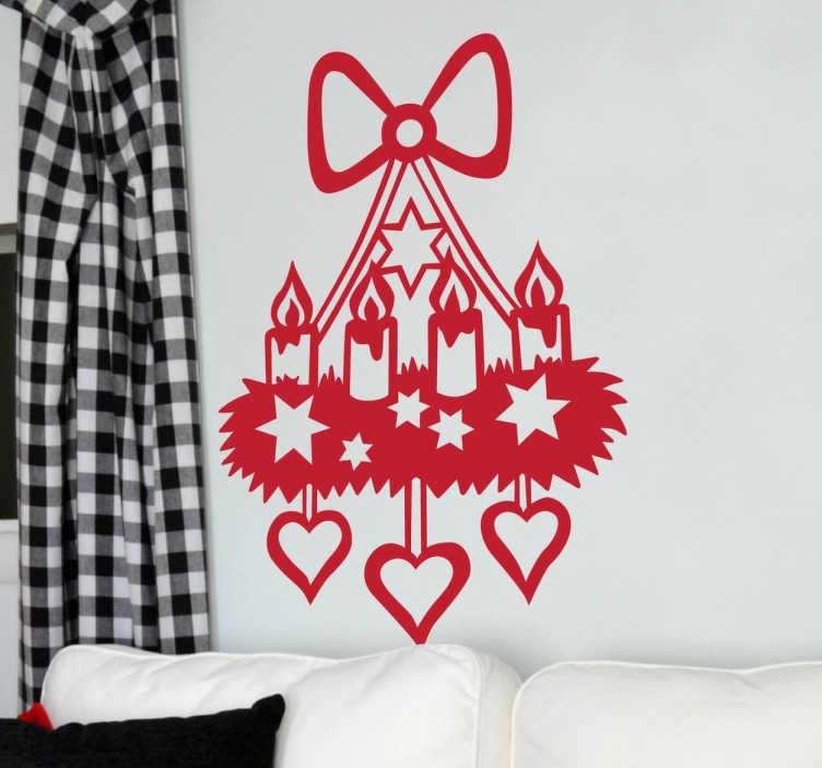 TenStickers. Adventskranz Sticker. Ein wunderschöner weihnachtlicher Sticker in der Form eines Adventskranzes. Sieht besonders schön an Fenstern aus. Riesige Auswahl