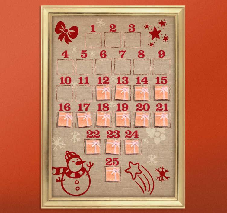 TenStickers. Sticker calendrier de l'avent. Sticker spécial Noël, pour décorer votre intérieur lors des fêtes de fin d'année avec ce calendrier de l'Avent.