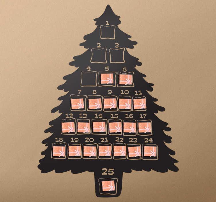 TenStickers. Naklejka świąteczna adwentowy kalendarz. Naklejka dekoracyjna idealna na okres odliczania dni do Bożego Narodzenia! Naklejka przedstawia sylwetkę choinki, która imituje kalendarz adwentowy.