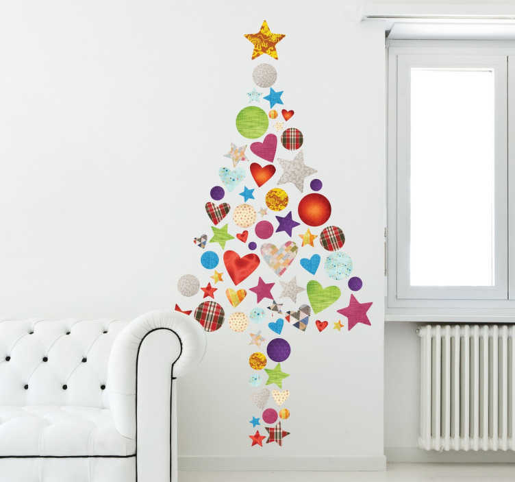 TenStickers. Patchwork Christmas Tree Decorative Sticker. Christmas decal with a colorful design consisting of hearts, stars and circles.