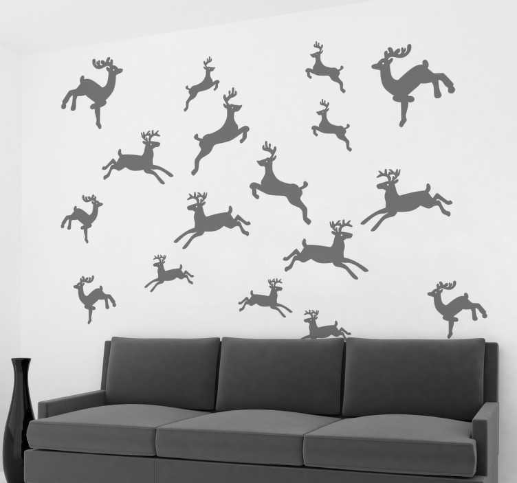 Sticker navideño colección de ciervos