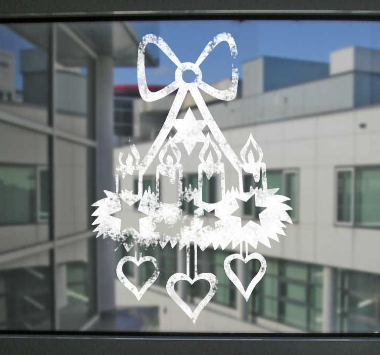 TenStickers. Fenstersticker Adventskranz. Dekorieren Sie ihre Fenster passend zur Weihnachtszeit mit einem tollen Weihnachtskranz für ihr Zuhause. Versiertes Designerteam