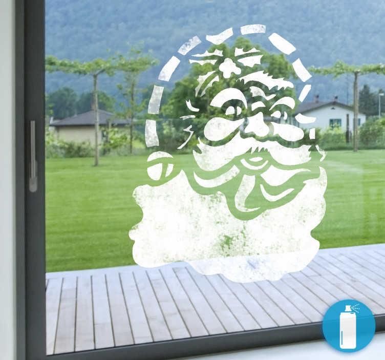 TenStickers. Autocolante decorativo pai natal efeito neve. Autocolante decorativo com a figura do pai natal. Ideal para a decoração de janelas.