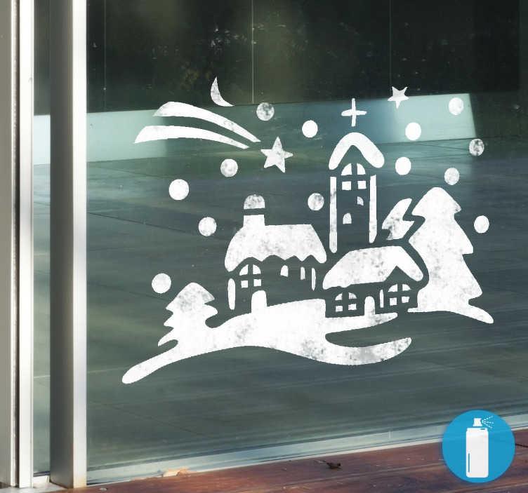 TenStickers. 작은 마을 크리스마스 스티커. 집이나 직장에서 유리 표면을 장식하는 크리스마스 스티커. 사랑하는 겨울 마을 서식 파일을 사용하여 눈 스프레이 효과를 적용하십시오.