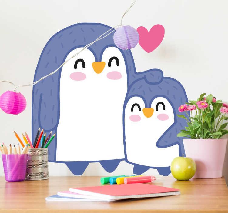 TenStickers. Pinguin Aufkleber. Ein freundlicher Pinguin mit großen Augen als Wandtattoo - ideal für die Wand im Kinderzimmer.