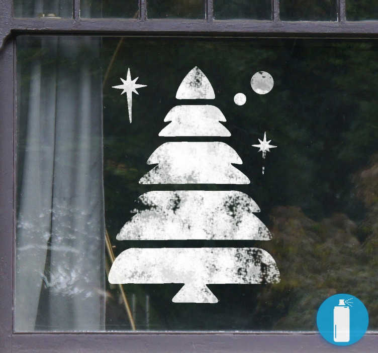 TenStickers. 圣诞树模板贴花. 乙烯基模板贴纸,你可以喷洒雪效果,并在您的窗户或玻璃表面上有这个神话般的圣诞设计。