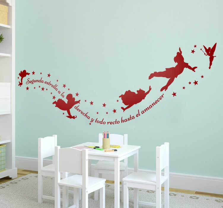 TenStickers. Peter Pan sunrise fairy tale wall decal. Fairy tale wall sticker decoration with peter pan character for children bedroom space. It is available in different colour options.