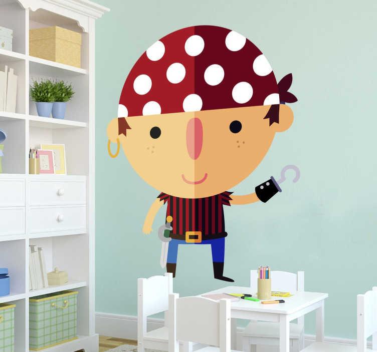 TenStickers. Piraat jongen kinderen sticker. Een fantastische sticker van een jongetje gekleed als een piraat! Maak van de kinderkamer een piratenkamer met deze leuke kinderkamer sticker!