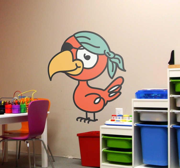 TenVinilo. Vinilo infantil loro pirata. Divertido dibujo en adhesivo para habitación de niños con los que darle color a la estancia.