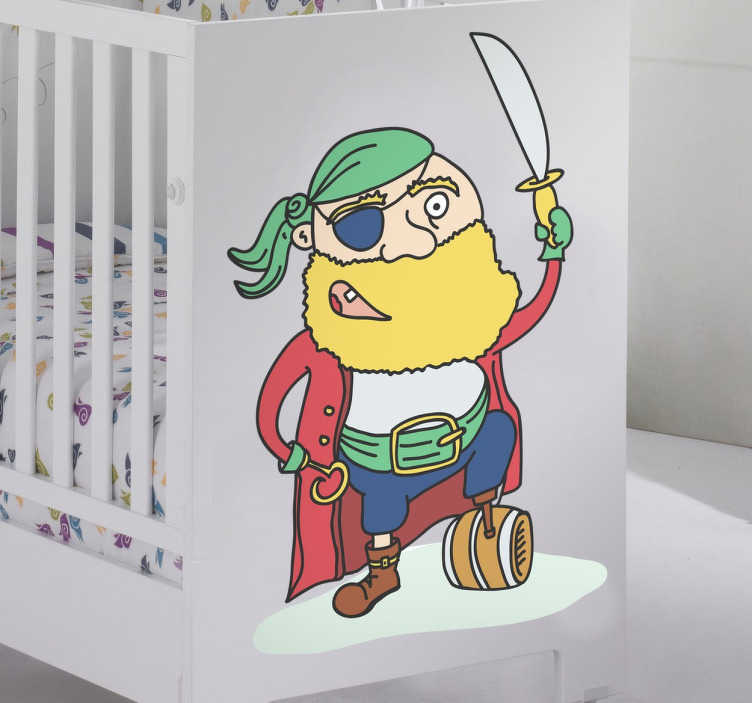TenStickers. Wall sticker decorativo pirata. Wall sticker decorativo per bambini che raffigura un coloratissimo pirata dall barba gialla.