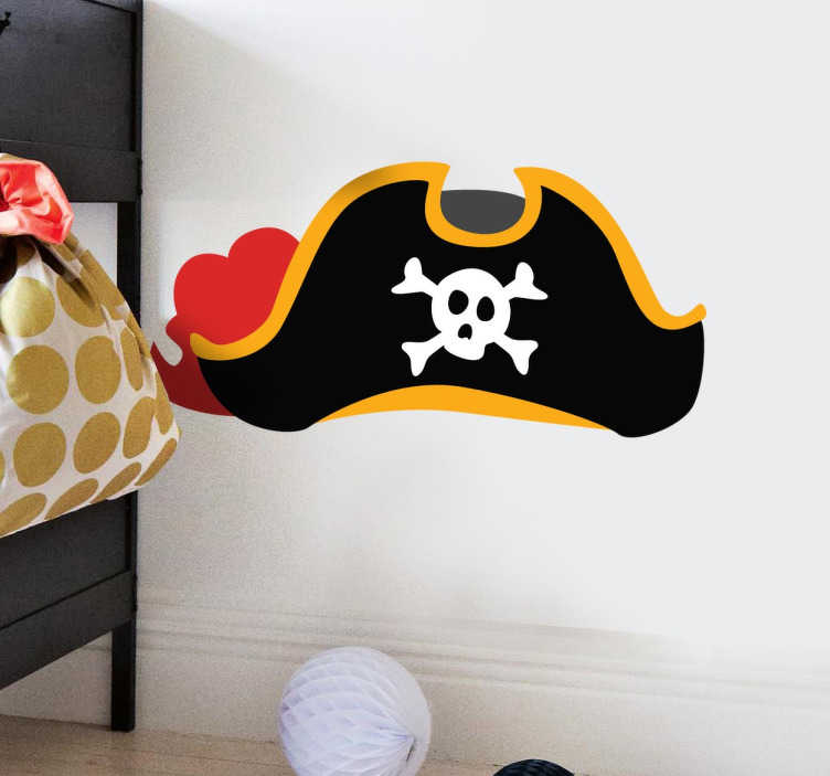 TenStickers. Piraten hoed kinderen sticker. Verander de normale kinderkamer naar een echte coole piratenkamer met deze grote kapiteinen piratenhoed muursticker!