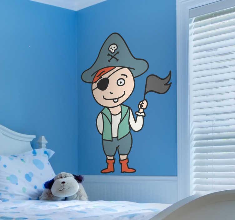 TenStickers. Kinderen piraten sticker. Decoratieve kinderkamer muursticker van een jongetje gekleed als een piraat! Je ziet hem zwaaien met een zwarte vlag en hij heeft een kapitein hoed.