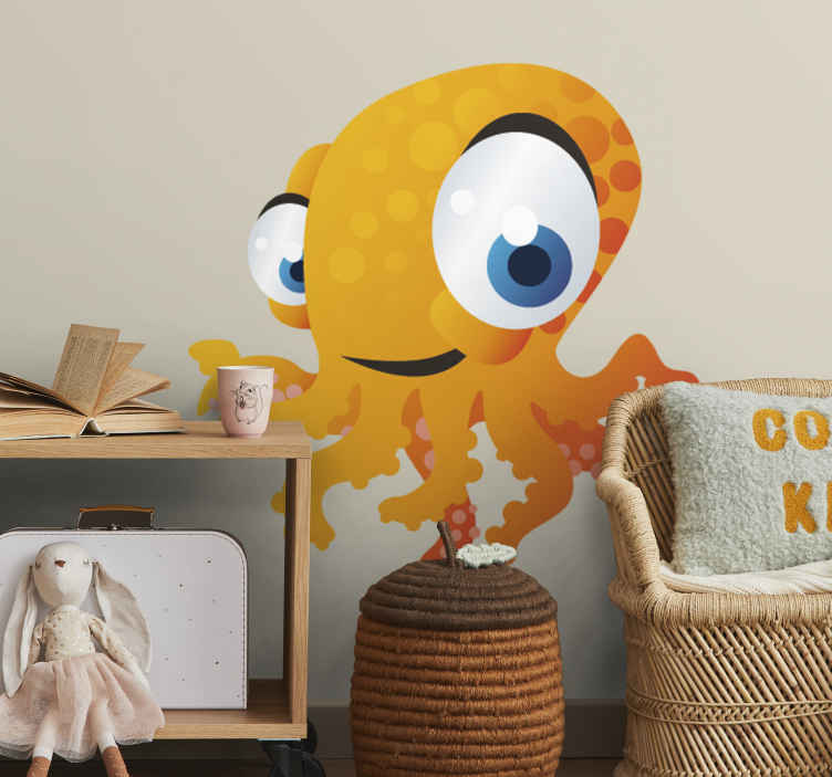 TenStickers. Sticker enfant poulpe jaune. Super idée déco pour la chambre d'enfant avec ce stickers créatif illustrant un poulpe jaune aux grands yeux.