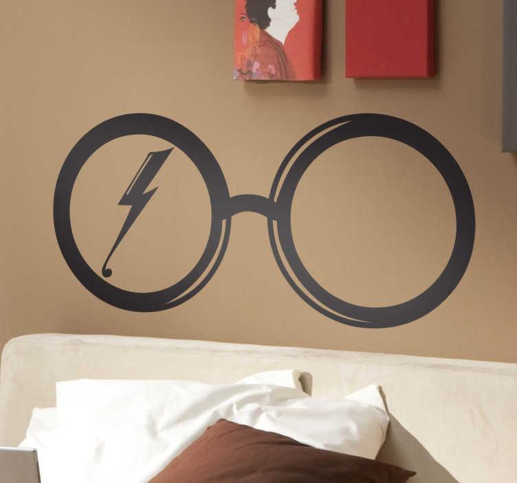 TenStickers. Naklejka okulary Harego Potera. Naklejka dekoracyjna na ścianę przedstawiająca charakterystyczne okulary, które nosił harry Potter, model ten stał się rozpoznawalny na całym świecie.