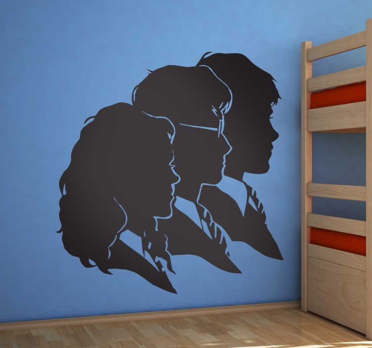 TenStickers. Harry Potter and Friends Wall Sticker. Magical Harry Potter wall sticker showing the silhouettes of Harry, Ron and Hermione facing danger together. This movie wall sticker is perfect for fans of the movie franchise who want to personalise their bedroom or device as it both looks great and shows off their fandom.