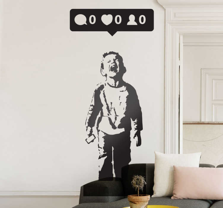 TenStickers. Banksy Wandtattoo Likes. Dieses Banksy Wandtattoo Likes ist eine gerechtfertigte Kritik am Umgang und der Bedeutung sozialer Medien heutzutage. Riesige Auswahl