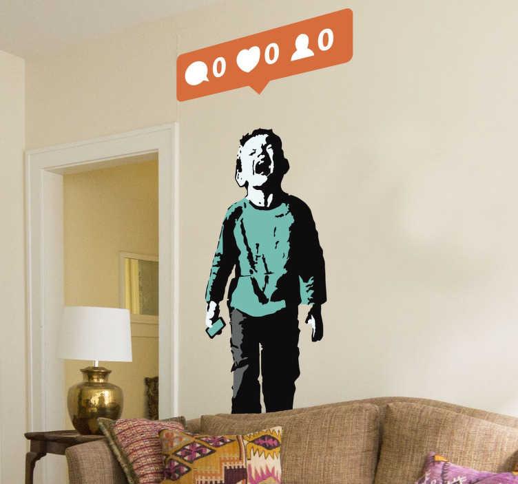 TenStickers. Sticker Banksy zero couleur. Sticker artistique représentant une oeuvre de l'artiste de rue Banksy, idéal pour décorer votre intérieur.