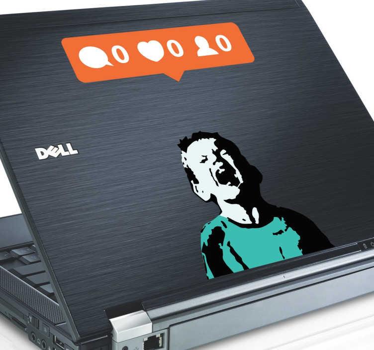 TenStickers. Naklejka na laptopa Banksy. Naklejka dekoracyjna na laptopa inspirowana sztuką brytyjskiego artysty Banksy przedstawiająca krzyczące dziecko i ikonki z portalów społecznościowych. Jeśli jesteś fanem sztuki ulicznej, umieść naklejkę na swoim komputerze.