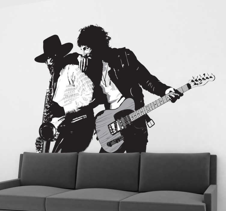 """TenStickers. Naklejka dekoracyjna Bruce Springsteen. Naklejka dekoracyjna na ścianę z ilustracją pochodzącą  z okładki albumu """"Born to run"""" Bruce'a Springsteen'a."""
