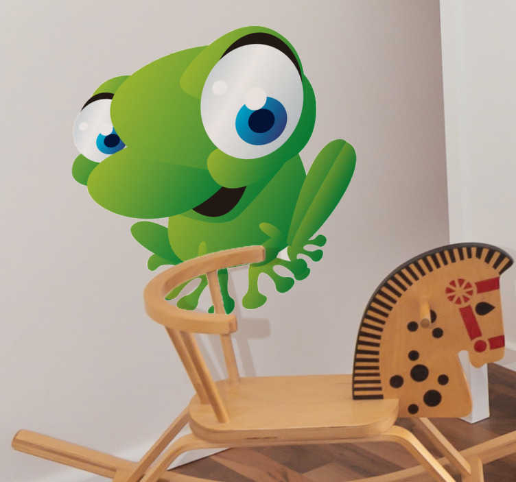 TenStickers. Kids Frog Wall Sticker. Kid Wall Stickers;Fun and playful illustration of a friendly frog with big eyes.Ideal for the kids´bedrooms and play areas.