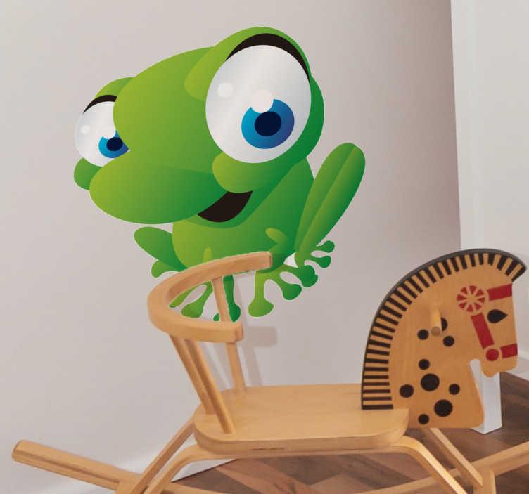 TenStickers. Frosch Aufkleber. Ein einfach sympathischer Frosch mit großen Augen als Wandtattoo - ideal für die Wand im Kinderzimmer.