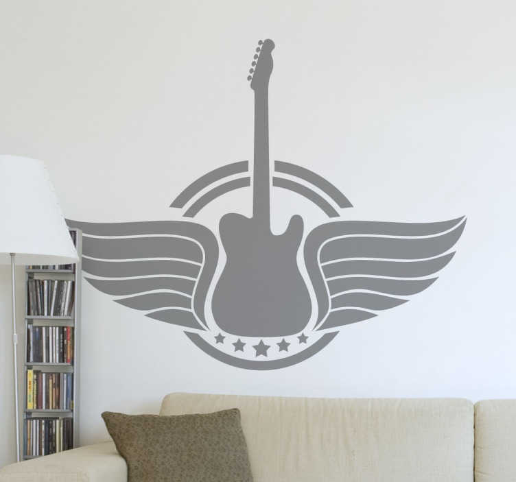 TenStickers. Guitar with Wings Logo Sticker. A superb design of guitar with wings from our collection guitar wall art stickers for those that love this instrument.
