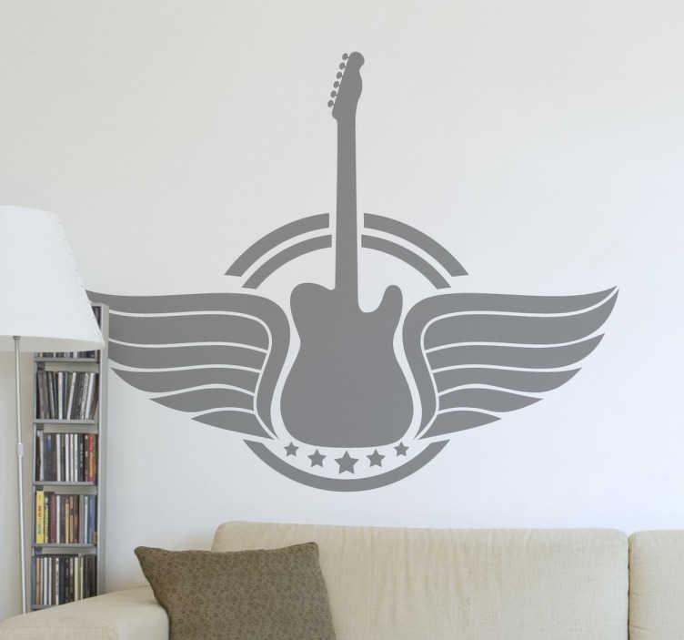 TenVinilo. Vinilo logotipo guitarra alada. Emblema adhesivo de una guitarra con alas pensada para un público aficionado a la música.