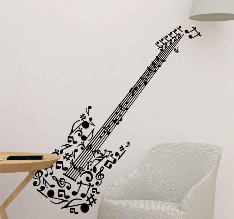 Naklejka gitara i nuty
