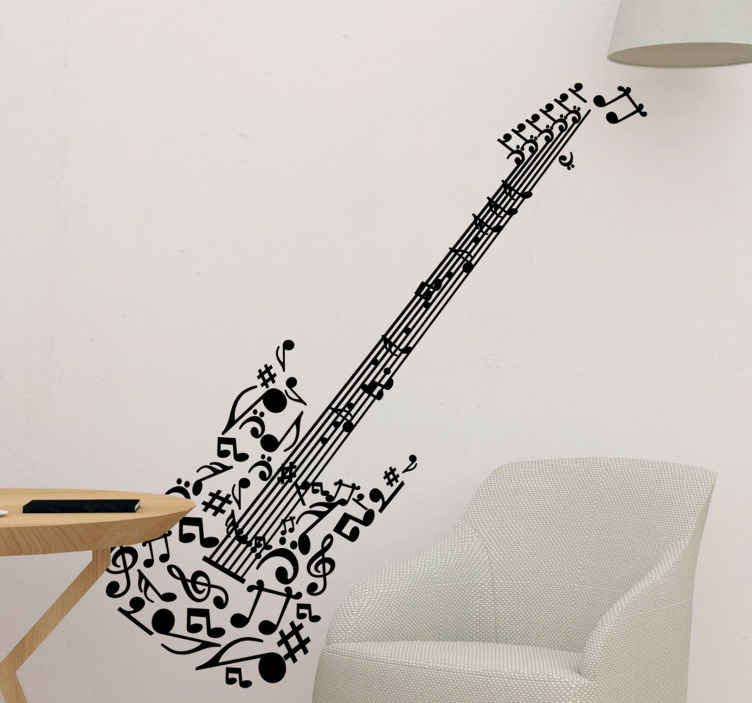 TENSTICKERS. 音符ギターの壁のステッカー. 非常にユニークな方法であなたの家をパーソナライズするための音楽壁のステッカーの素晴らしいコレクションからの素晴らしいギターの壁のステッカー!このギターデカールは、この楽器を演奏したり、単に音楽を愛する人に最適です!