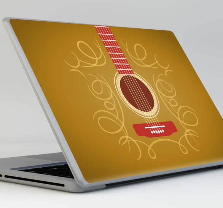 TenStickers. Guitar Laptop Sticker. A superb design illustrating a guitar from our collection of guitar wall art to decorate your laptop and make it stand out.